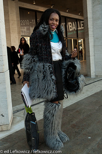 Fuzzy outfit at Fashion Week