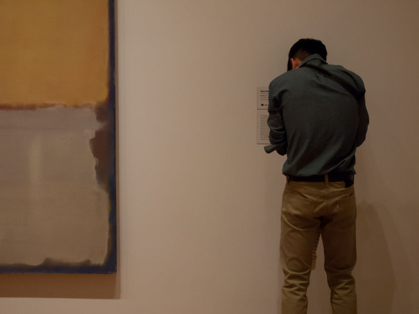 Photographing a museum label