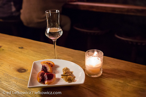 Duck fat washed mescal with crispy duck skin