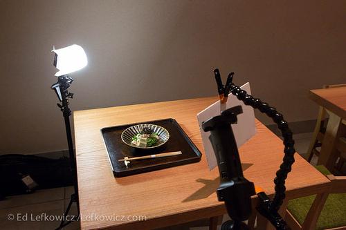 Set up for an editorial restaurant shoot