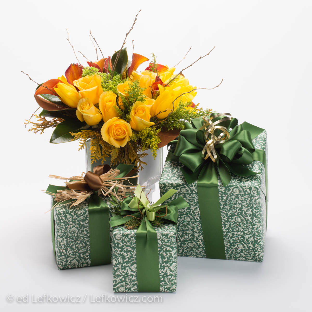 Floral arrangement and gift boxes