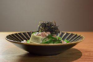 Chilled eggplant with polka-dot cucumber (nori-fu, myoga, shiso yuzu) at Kajitsu, photographed for The New York Times.