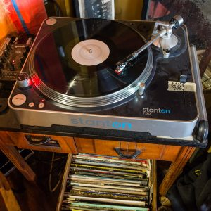 LP on a turntable, Black Gold Records. Photographed for 111 Places in Brooklyn That You Must Not Miss.