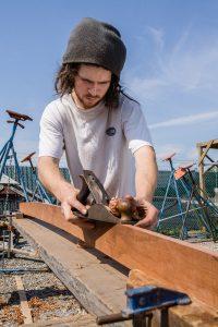 Ship carpenter Christian Chavez, New England Shipyard, Wickford, RI