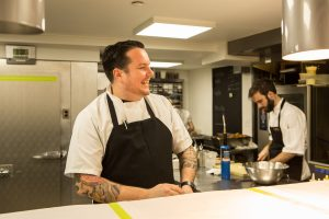 Chef Matt Lambert in the kitchen of The Musket Room, photographed for The New York Times.