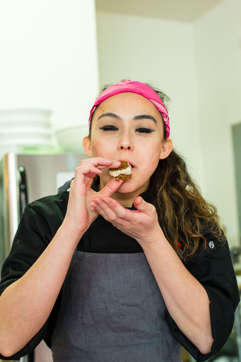 Chef Anna J. Fitting and her banana ice cream sandwich. Photographed for Edible Queens magazine