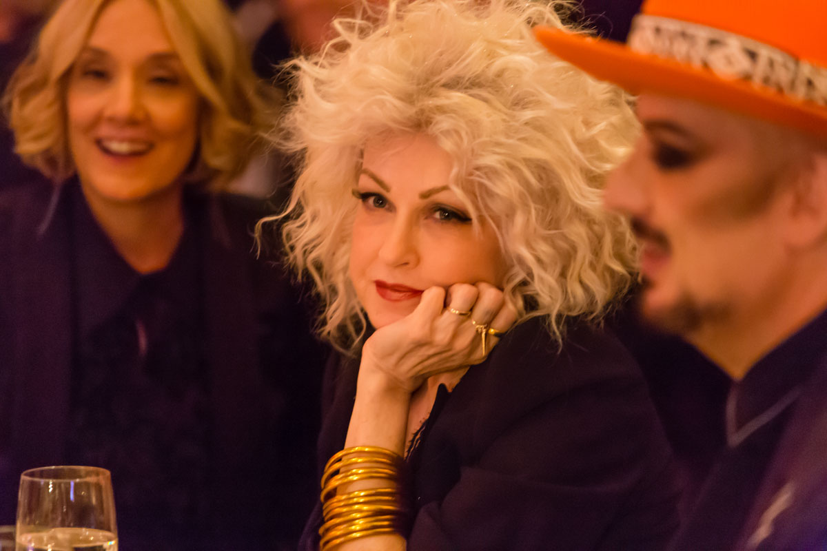 Cyndi Lauper, with Boy George in the foreground, for the New York Pops