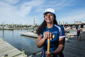 A member of the Morgan Stanley Dragon Boat racing team. Photographed for Morgan Stanley.