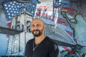 "Zolt ""George"" Csonla outside his now-shuttered restaurant and bar Adriaen Block. Shot for Edible Queens magazine."