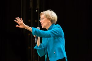 Massachusetts Senator and Democratic Presidential candidate Elizabeth Warren at a rally at Brooklyn's Kings Theatre.