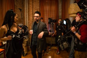"""Devika Bhise and director Nathan Catucci, behind-the-scenes of the filming of the feature """"Impossible Monsters"""""""